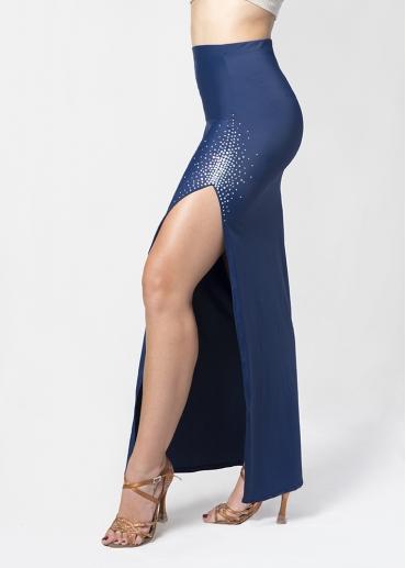Falda abertura y strass azul