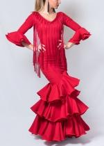 Traje de flamenca Liso Rojo