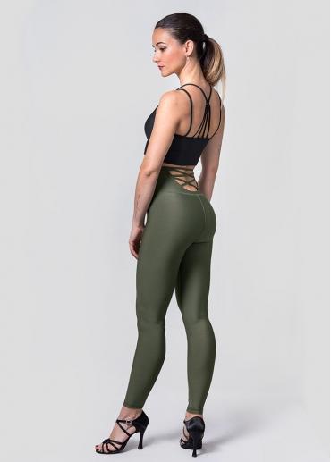 Back crossing khaki leggings