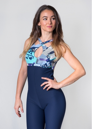 Ana deep blue jumpsuit