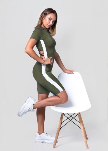 Andrea Biker Khaki Jumpsuit