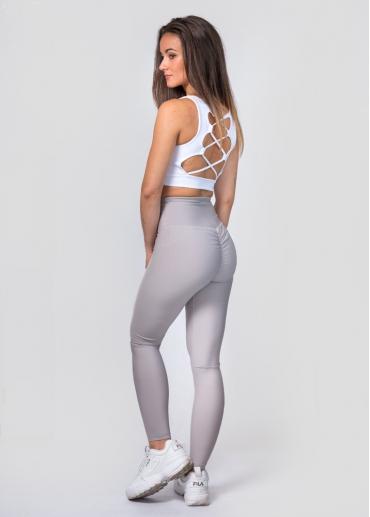 Pearl grey ruffled leggings