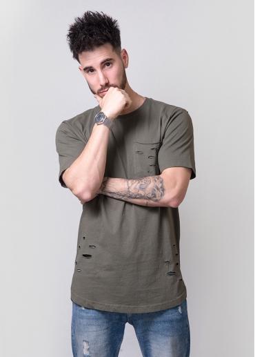 Khaki green ripped t-shirt