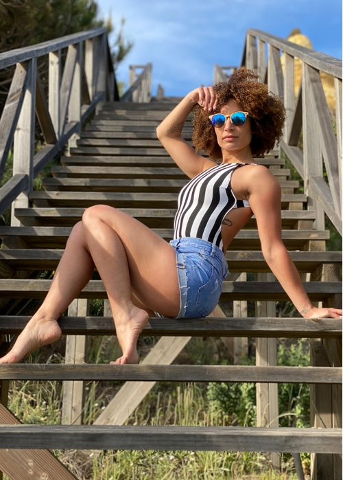Striped black veronica bodysuit