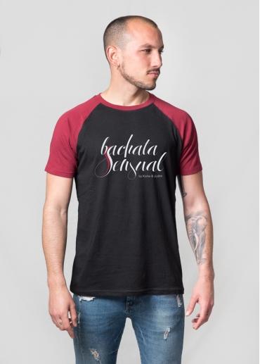 Camiseta Bachata Sensual mangas burdeos hombre
