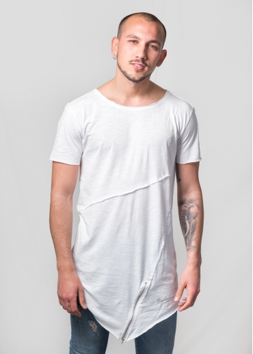 Zip asymmetric white t-shirt