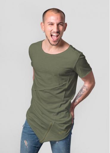 Zip asymmetric green t-shirt